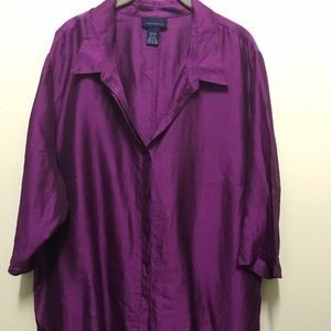 Venezia Woman's Silk Magenta Button Up Blouse